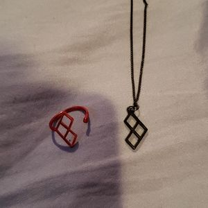 Jewelry - Harley Quinn necklace and ring